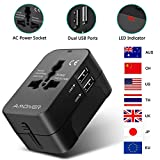 Amoner Reiseadapter Steckdosenadapter Universal Adapter Travel Plug Stromadapter Weltweit Reisestecker für die USA Europa UK AU Thailand China usw.